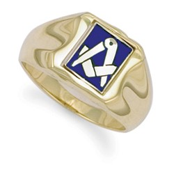 Masonic 9ct Yellow Gold Enamelled Swivel Ctre Ring-MGR-03
