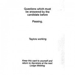 Taylor's Passing Question Card