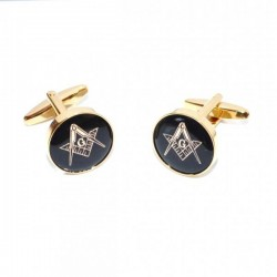 Black & Gold Enamelled Masonic Cufflinks round [With or Without 'G']
