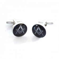 Black & Silver Enamelled Masonic Cufflinks [With or Without 'G']