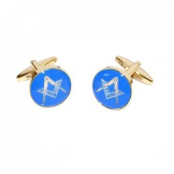 Blue & Gold Enamelled Masonic Cufflinks Coin [With or Without 'G']