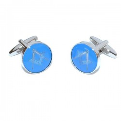 Blue & Silver Enamelled Masonic Cufflinks Coin [With or Without 'G']