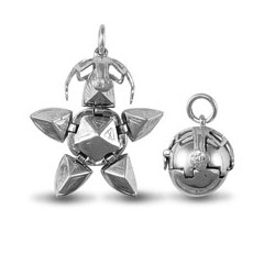 925 Sterling Silver Masonic Ball -Star  [Medium]
