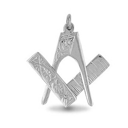 925 Sterling Silver Masonic Scissor Pendant