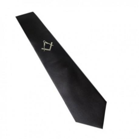 Gold / Silver Masonic Design Black Neck Tie