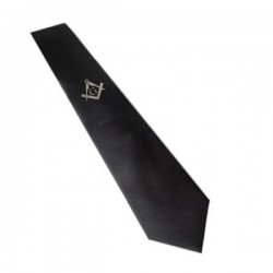 Gold / Silver Masonic Design Black Neck Tie