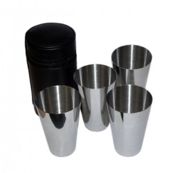 Set of 4 x 3.5oz Stainless Steel Spirit Drinking Cups in Zip Leather Case