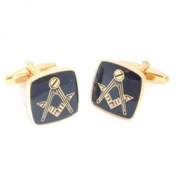 Black & Gold Plated Masonic Cufflinks No G